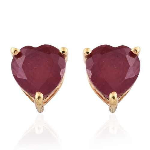 African Ruby 1.75 ct. Heart Silver Stud Earrings with Push Back in Gold Overlay