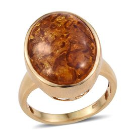 Very Rare Size Baltic Amber (Ovl 20X15) Solitaire Ring in 14K Gold Overlay Sterling Silver 6.000 Ct.