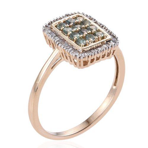 9K Y Gold Narsipatnam Alexandrite (Rnd), Diamond Ring 1.000 Ct. (Diamond Wt 0.350 Ct.)