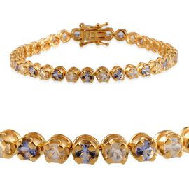 Tanzanite (Rnd), White Topaz Tennis Bracelet (Size7.5) in Yellow Gold Overlay Sterling Silver 12.500 Ct.