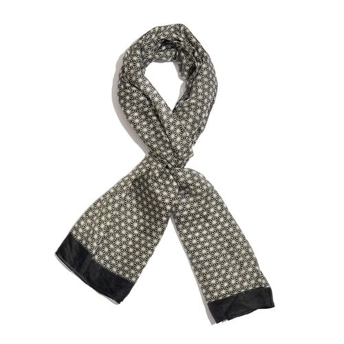 100% Mulberry Silk Black and White Colour Seamless Hand Screen Printed Scarf (Size 180X50 Cm)