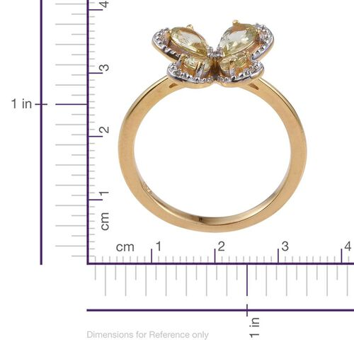 Natural Canary Apatite (Pear), Diamond Ring in 14K Gold Overlay Sterling Silver 1.000 Ct.