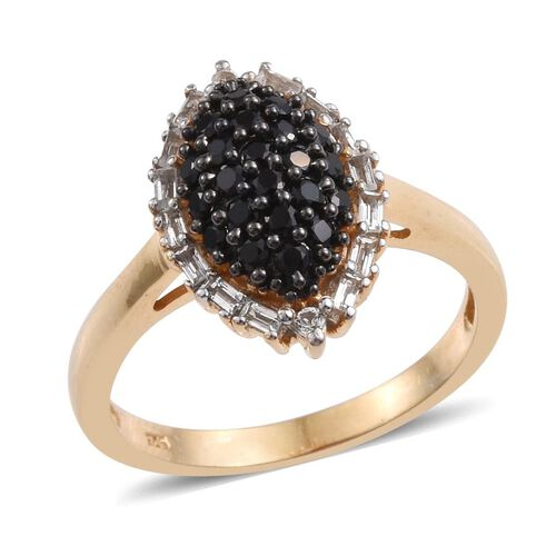 Boi Ploi Black Spinel (Rnd), White Topaz Ring in 14K Gold Overlay Sterling Silver 1.000 Ct.