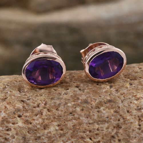 Amethyst 1.50 Ct Silver Bezel Set Stud Earrings in Rose Gold Overlay