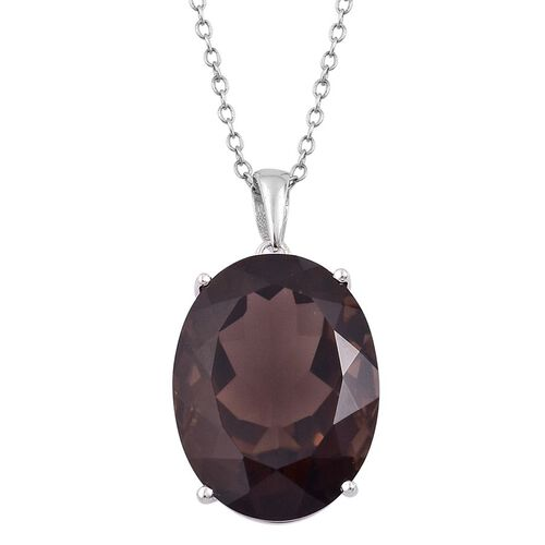 Rare Size Brazilian Smoky Quartz (Ovl) Pendant With Chain in Rhodium Plated Sterling Silver 17.000 Ct.