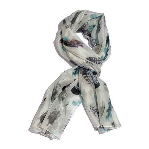100% Mulberry Silk Multi Colour Feather Pattern White Colour Scarf (Size 180x100 Cm)