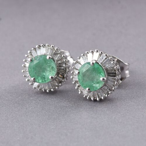 9K White Gold 1 Carat Boyaca Colombian Emerald Halo Stud Earrings (with Push Back) with Diamond I3/G-H