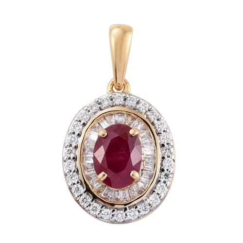 ILIANA 18K Yellow Gold 1.25 Ct. AAA Burmese Ruby Pendant withTwo Row Diamond SI S-H