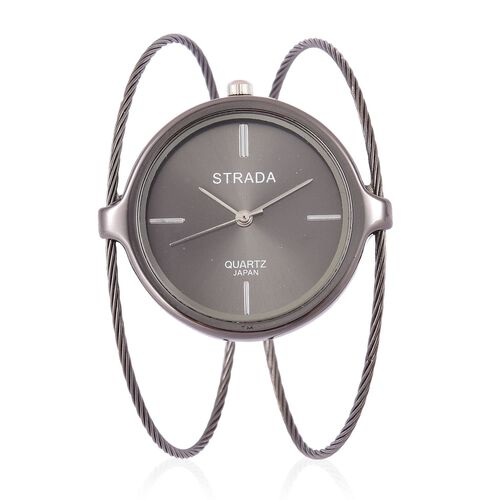 STRADA Japanese Movement Bangle Watch in Black Tone with Stainless Steel Back