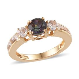 Northern Lights Mystic Topaz (Rnd 1.00 Ct), White Topaz Ring in 14K Gold Overlay Sterling Silver 1.750 Ct.