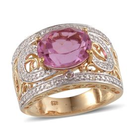Kunzite Colour Quartz (Ovl 5.75 Ct), Diamond Ring in 14K Gold Overlay Sterling Silver 5.800 Ct.