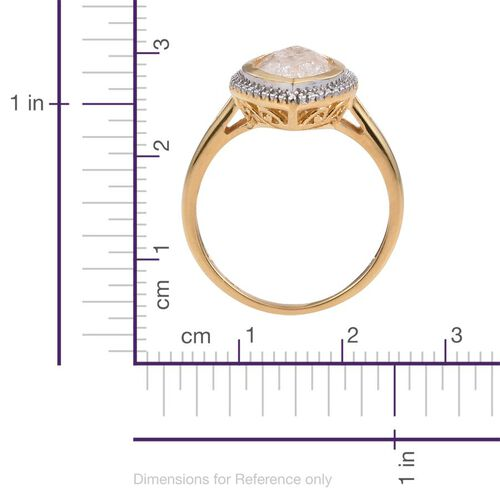 Diamond Crackled Quartz (Mrq) Solitaire Ring in 14K Gold Overlay and Sterling Silver 3.500 Ct.