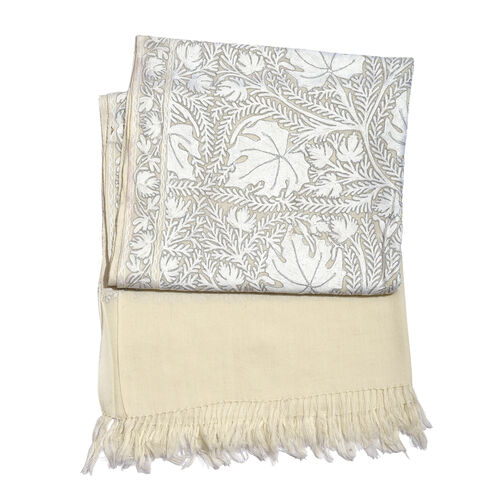 100% Merino Wool Flowers Embroidered Off White Colour Scarf (Size 180x75 Cm)