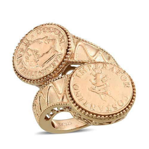 Stefy Pink Sapphire (Rnd) Crossover Ring with Coin in 14K Gold Overlay Sterling Silver