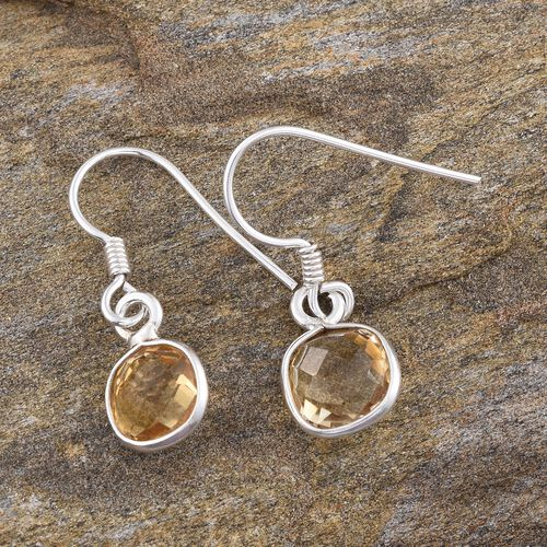 Citrine (Sqr) Hook Earrings in Sterling Silver 5.390 Ct.