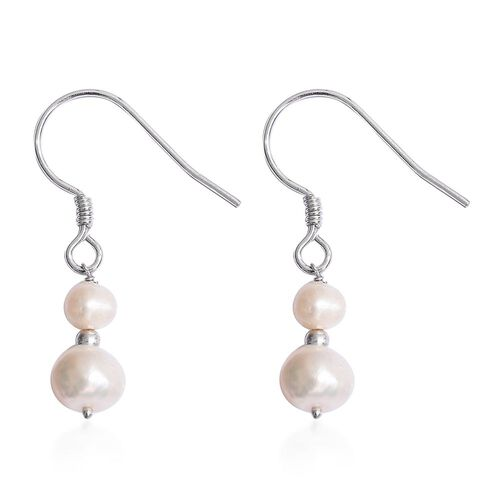 Fresh Water Pearl Necklace (Size 20) and Hook Earrings in Platinum Overlay Sterling Silver 142.000 Ct.