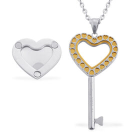 ION Plated YG Heart Key Pendant With Chain (Size 20) in Stainless Steel