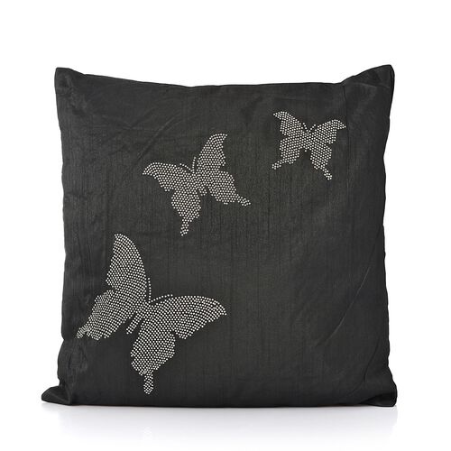 Butterfly Pattern Black Colour Cushion with Silver Studs (Size 42x42 Cm)
