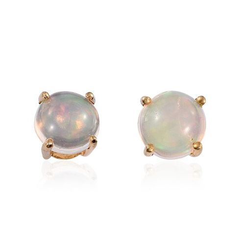 Ethiopian Welo Opal (Rnd) Stud Earrings (with Push Back) in 14K Gold Overlay Sterling Silver 2.000 Ct.