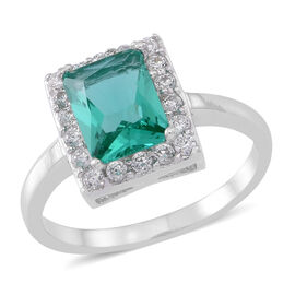 ELANZA AAA Simulated Paraiba Tourmaline (Oct), Simulated White Diamond Ring in Rhodium Plated Sterling Silver