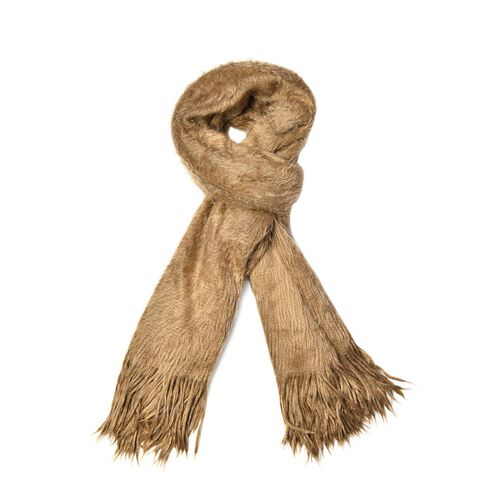 Fluffy Faux Fur Brown Colour Scarf (Size 155x70 Cm)