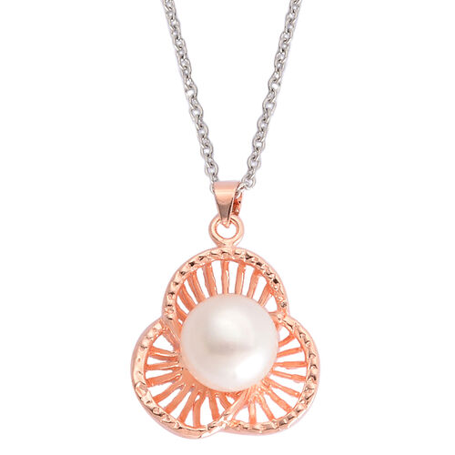 Fresh Water White Pearl Pendant in Rose Gold Tone with Stainless Steel Chain