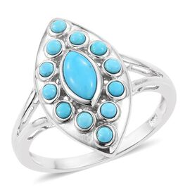 Arizona Sleeping Beauty Turquoise (Mrq 0.54 Ct) Ring in Platinum Overlay Sterling Silver 1.000 Ct.