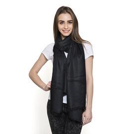 OTO - 100% Fine Cashmere Wool - Hand Loomed Black Shawl (Size 200 x 70 Cm)