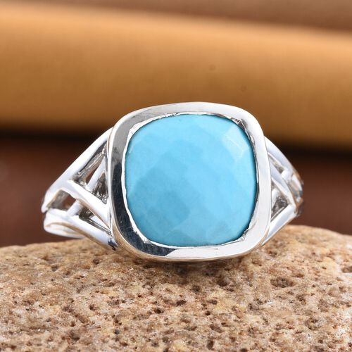 Arizona Sleeping Beauty Turquoise (Cush) Solitaire Ring in Platinum Overlay Sterling Silver 4.750 Ct.