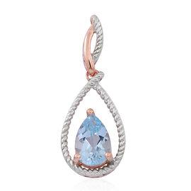 Sky Blue Topaz (Pear) Pendant in 14K Rose Gold Overlay Sterling Silver 3.500 Ct.