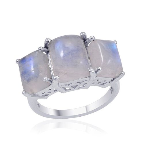 Rainbow Moonstone (Bgt 3.00 Ct) 3 Stone Ring in Platinum Overlay Sterling Silver 7.000 Ct.