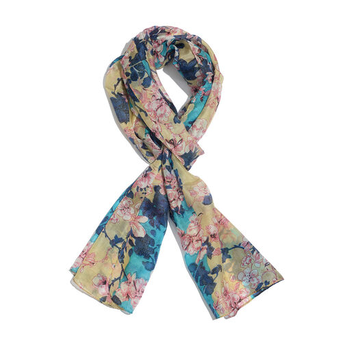 SILK MARK- Made in Kashmir 100% Silk Green and Multi Colour Floral and Leaves Pattern Golden Colour Scarf (Size 180x50 Cm)