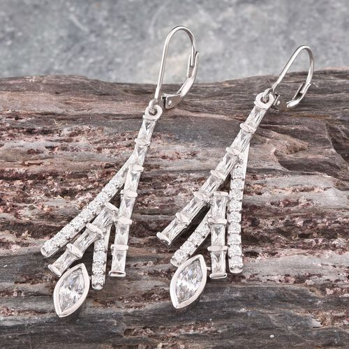 J Francis - Platinum Overlay Sterling Silver (Mrq) Lever Back Earrings Made with SWAROVSKI ZIRCONIA