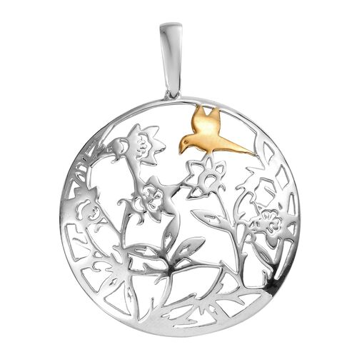 Platinum and Yellow Gold Overlay Sterling Silver Bird Pendant, Silver wt 6.50 Gms.