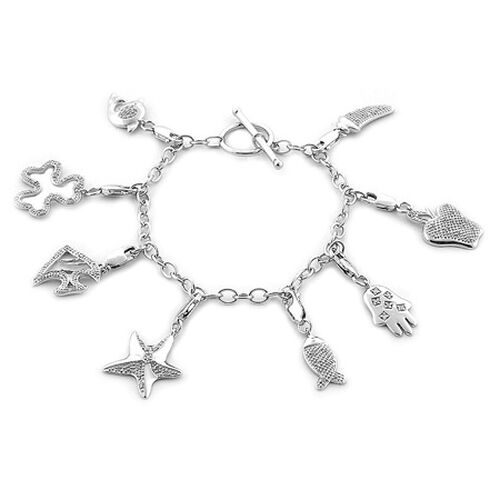 Diamond (Rnd) 8 Charm Bracelet in Platinum Overlay Sterling Silver (Size 7.5) 0.40 Ct.