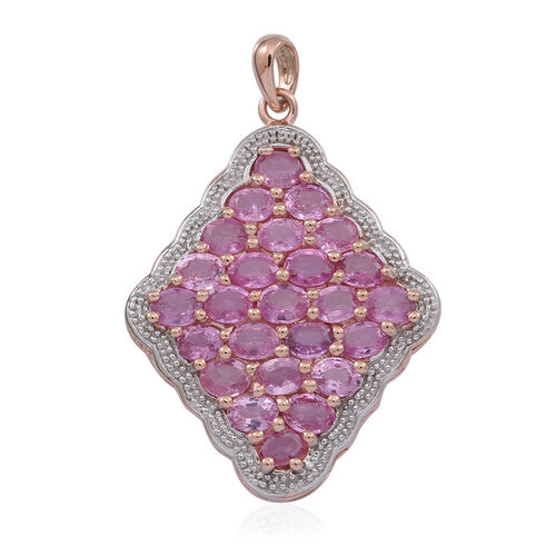 9K R Gold AAAA Pink Sapphire (Ovl) Cluster Pendant 5.000 Ct. Gold Wt 3.80 Gms.