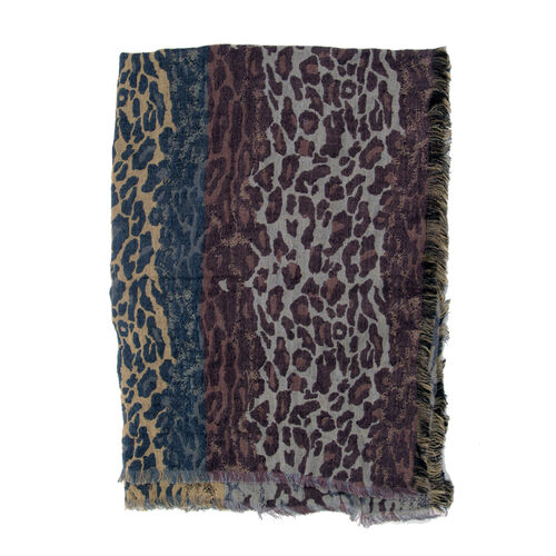 100% Merino Wool Leopard Pattern Blue, Brown and Multi Colour Jacquard Scarf with Fringes (Size 180x70 Cm)