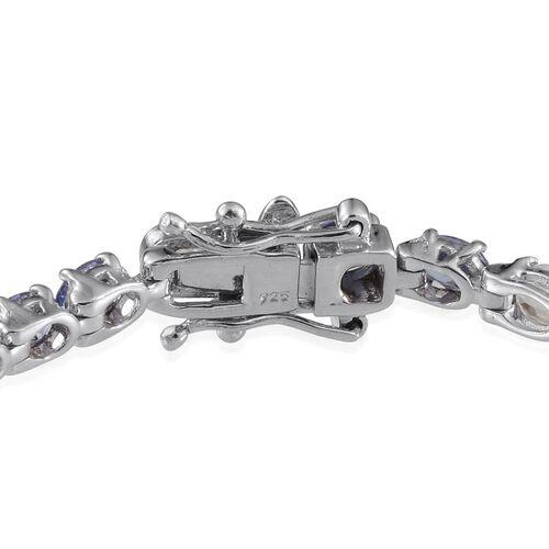 AA Tanzanite (Ovl), White Topaz Bracelet (Size 7) in Platinum Overlay Sterling Silver 10.250 Ct.