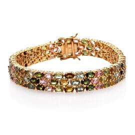 Rainbow Tourmaline (Ovl) Bracelet (Size 7.5) in 14K Gold Overlay Sterling Silver 25.000 Ct.