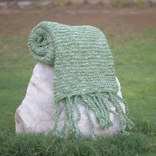 100% Cotton Chambray Piquant Green Colour Throw with Fringes