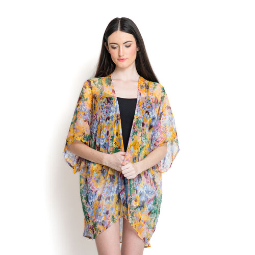 Green and Multi Colour Floral Pattern Yellow Colour Kimono (Free Size)