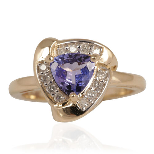 Close Out Deal 14K Y Gold AA Tanzanite (Trl 1.00 Ct), Diamond (I2-G/H) Ring 1.200 Ct.