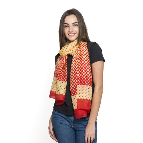 100% Mulberry Silk Red and Yellow Colour Dots Pattern Scarf (Size 180x50 Cm)