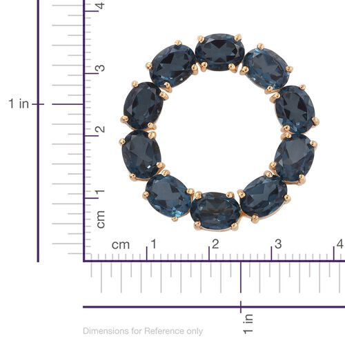 Indicolite Quartz (Ovl) Circle of Life Pendant in 14K Gold Overlay Sterling Silver 15.000 Ct.
