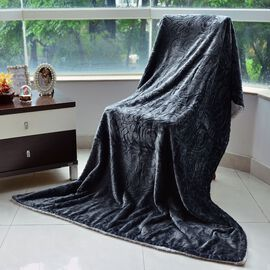 Superfine Microfibre Cloud Shaving Flannel Reversible Sherpa Blanket Dark Grey (Size 130x200 Cm)