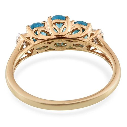 Malgache Neon Apatite (Ovl), Diamond Ring in 14K Gold Overlay Sterling Silver 1.050 Ct.