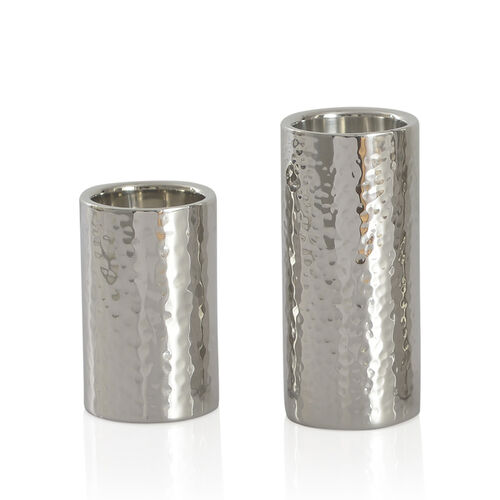 Home Decor - Set of 2 - Round Shape Silver Colour Hammered Tea Light Holder