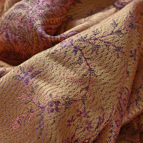 SILK MARK - 100% Superfine Silk Pink and Multi Colour Paisley and Leaves Pattern Golden Colour Jacquard Jamawar Shawl with Fringes (Size 180x70 Cm) (Weight 125-140 Grams)
