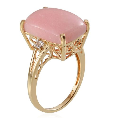 Peruvian Pink Opal (Cush 8.75), White Topaz Ring in Yellow Gold Overlay Sterling Silver 8.830 Ct.