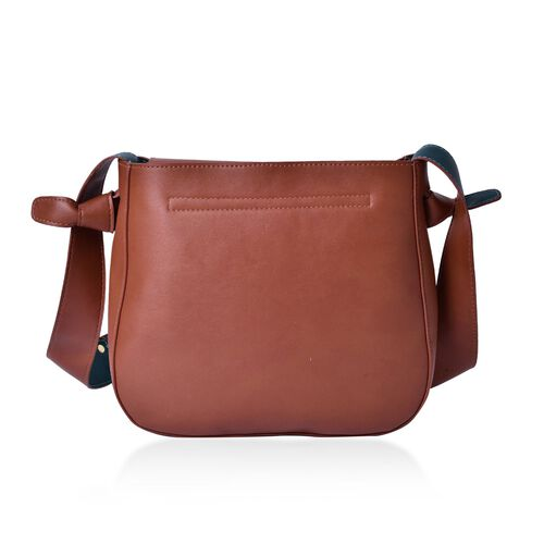 Penny Chocolate and Dark Green Colour Shoulder Bag with Shoulder Strap (Size 27x24x8 Cm)